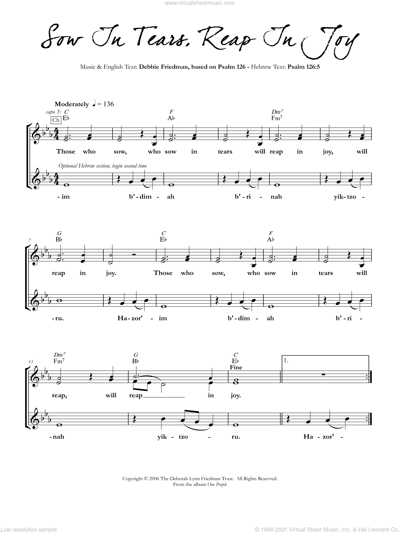 Sow In Tears, Reap In Joy sheet music for voice and other instruments (fake book) by Debbie Friedman, intermediate skill level