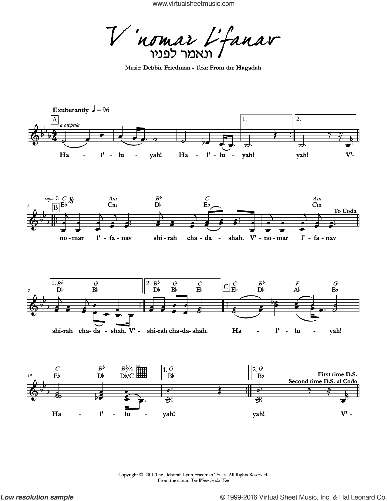 V'nomar L'fanav sheet music for voice and other instruments (fake book) by Debbie Friedman, intermediate. Score Image Preview.