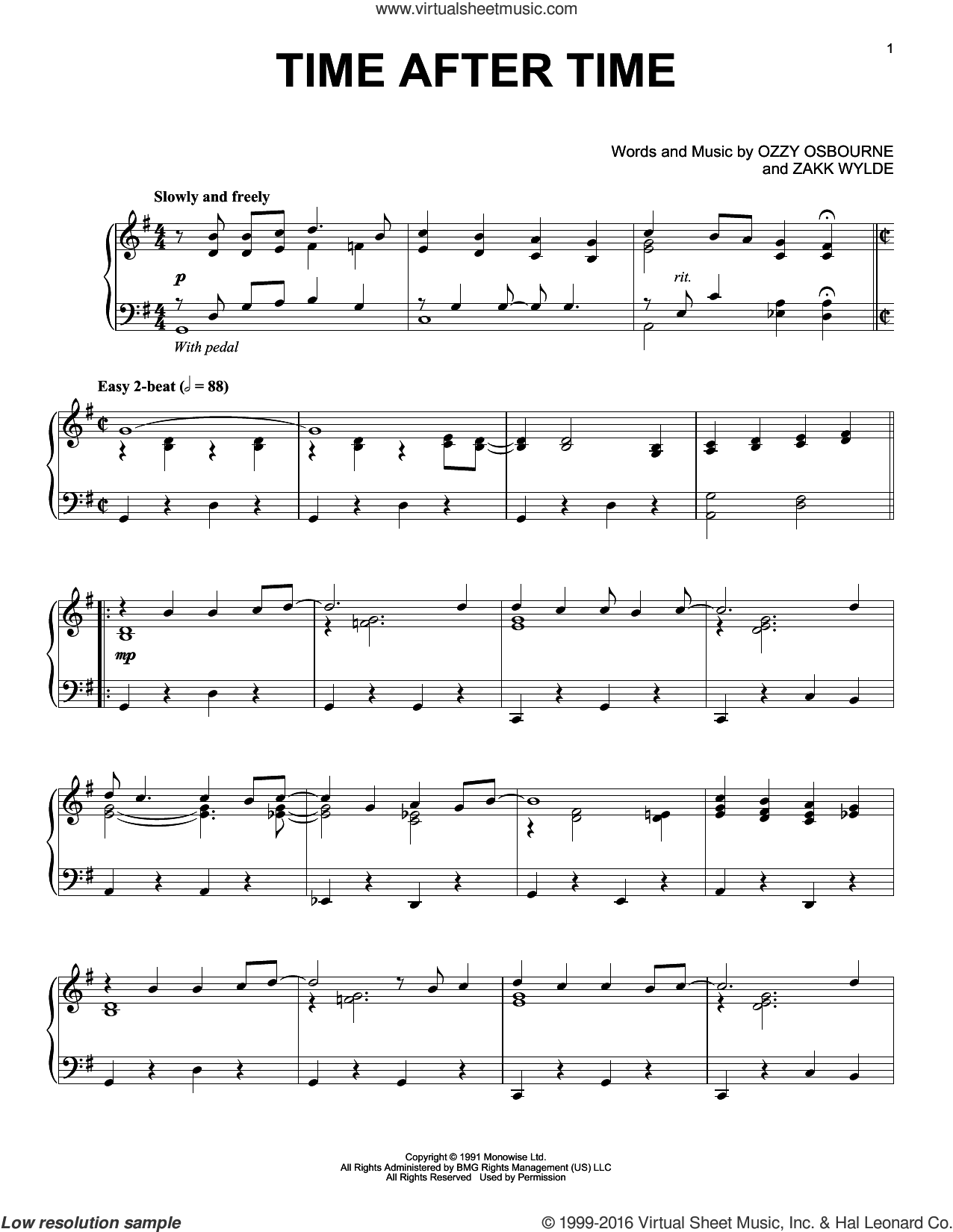 Time After Time sheet music for piano solo by Ozzy Osbourne and Zakk Wylde. Score Image Preview.