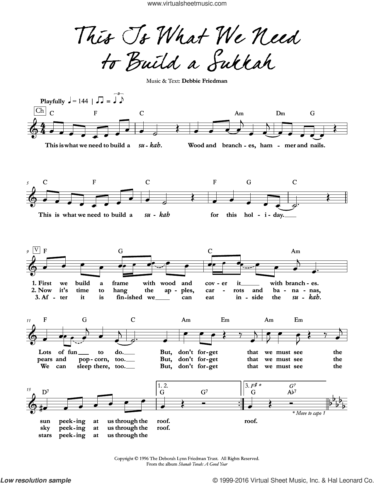 This Is What We Need to Build a Sukkah sheet music for voice and other instruments (fake book) by Debbie Friedman, intermediate skill level