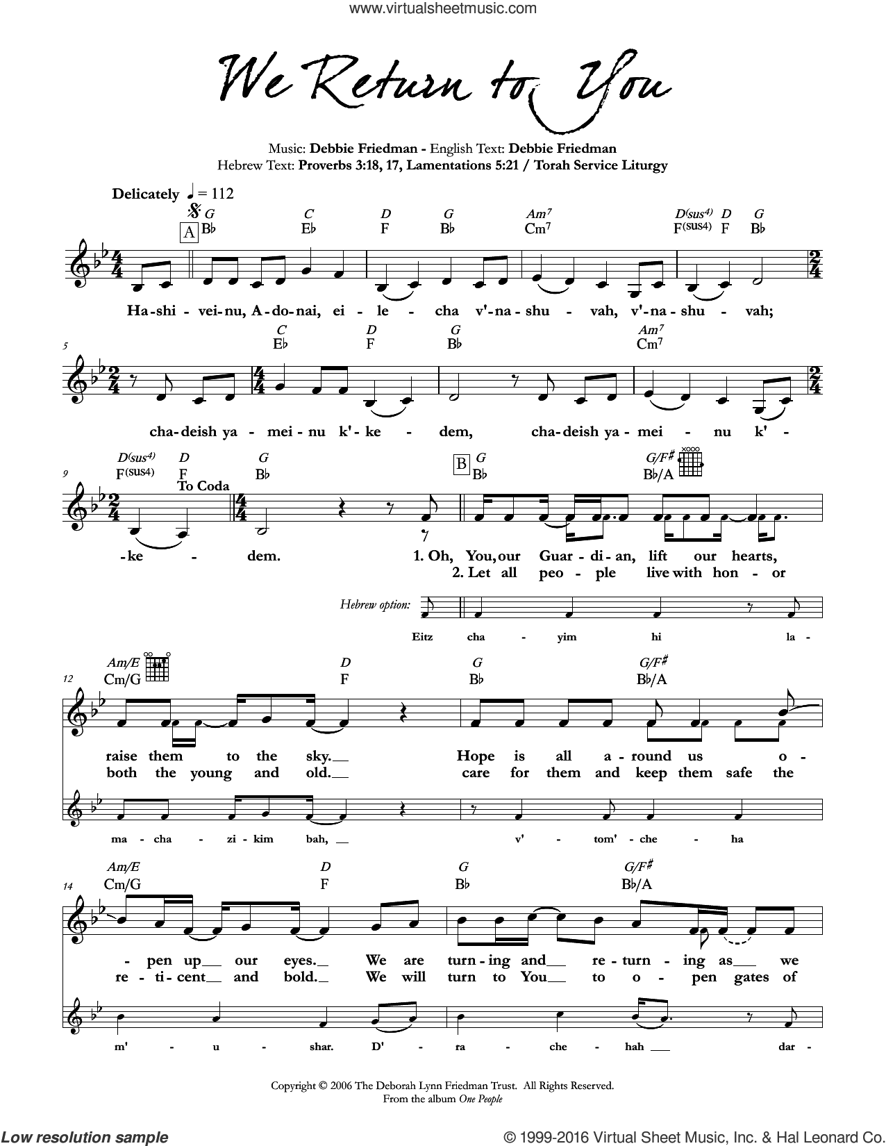 We Return to You sheet music for voice and other instruments (fake book) by Debbie Friedman & Tamara Ruth Cohen and Debbie Friedman. Score Image Preview.