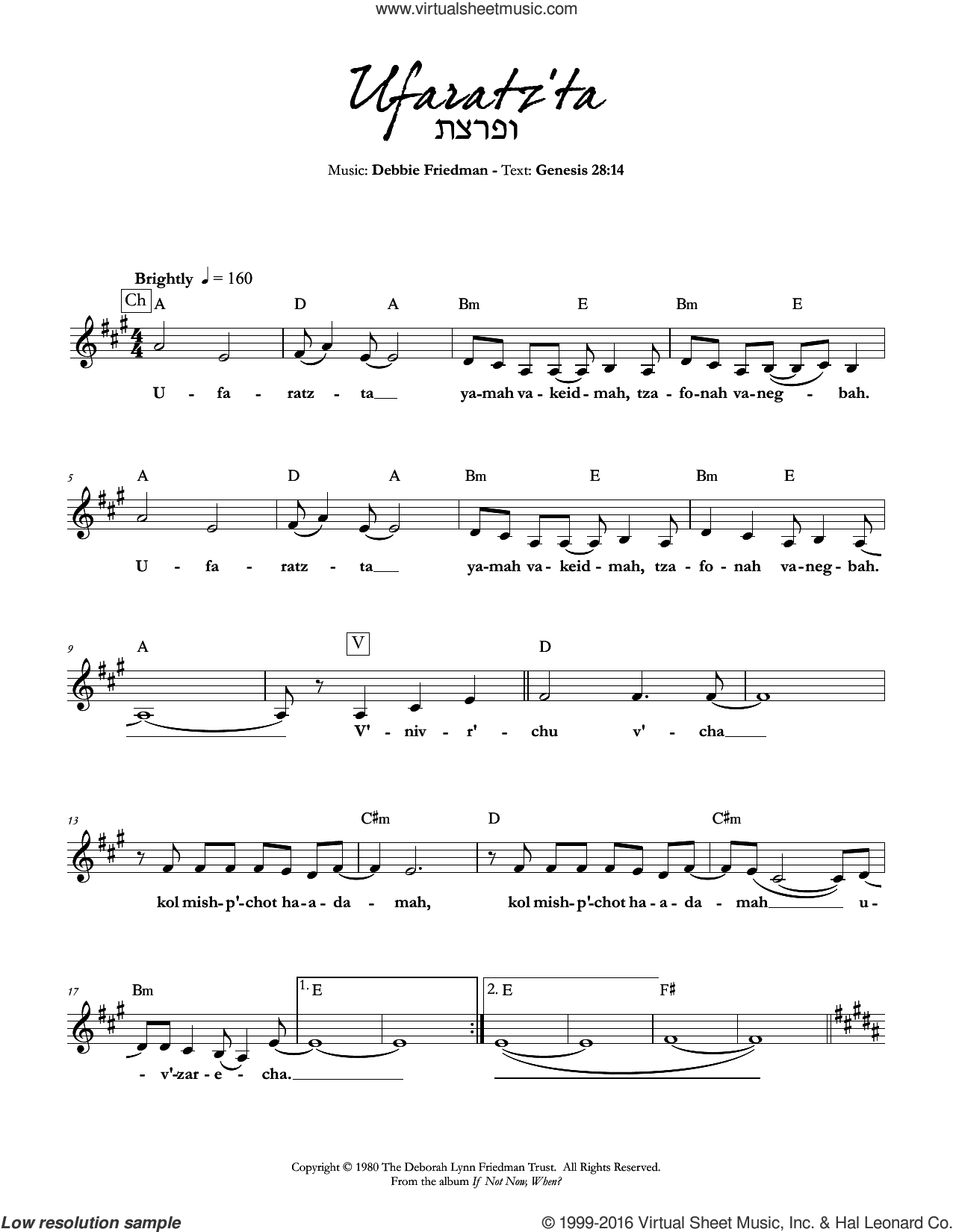 Ufaratz'ta sheet music for voice and other instruments (fake book) by Debbie Friedman. Score Image Preview.