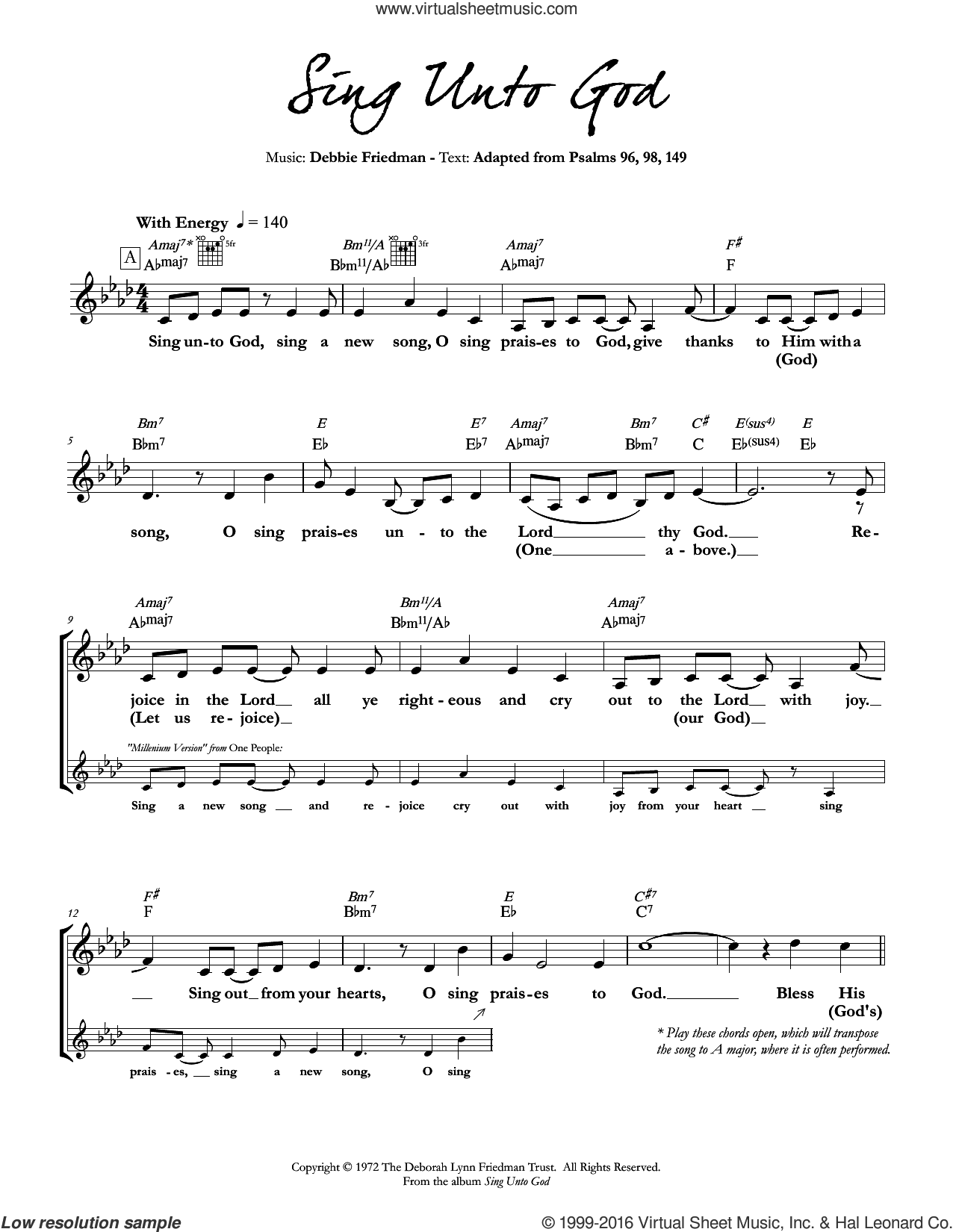 Sing Unto God sheet music for voice and other instruments (fake book) by Debbie Friedman. Score Image Preview.