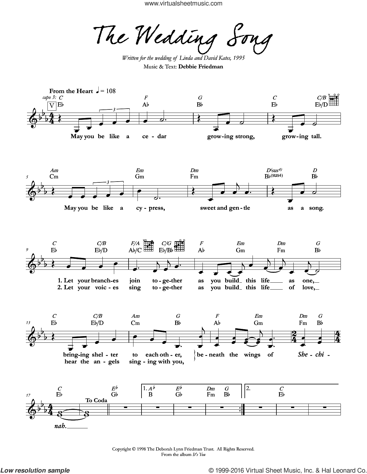 The Wedding Song sheet music for voice and other instruments (fake book) by Debbie Friedman. Score Image Preview.