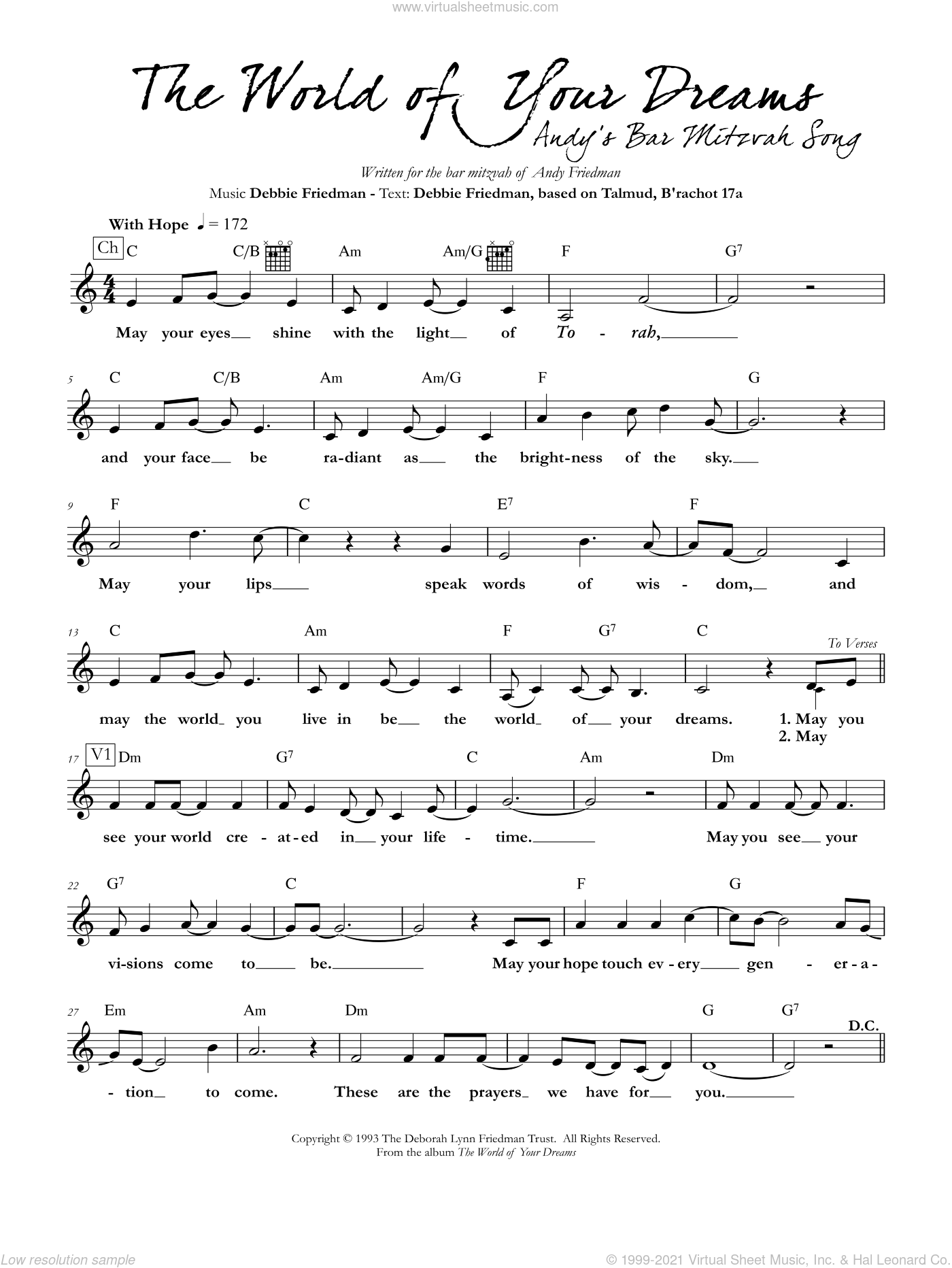The World of Your Dreams sheet music for voice and other instruments (fake book) by Debbie Friedman, intermediate skill level