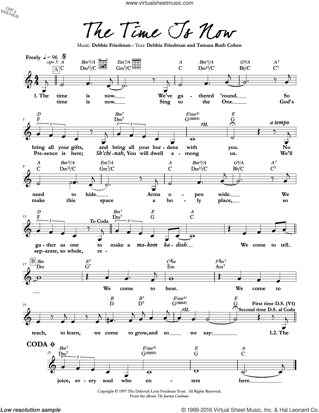 The Time Is Now sheet music for voice and other instruments (fake book) by Debbie Friedman & Tamara Ruth Cohen and Debbie Friedman. Score Image Preview.