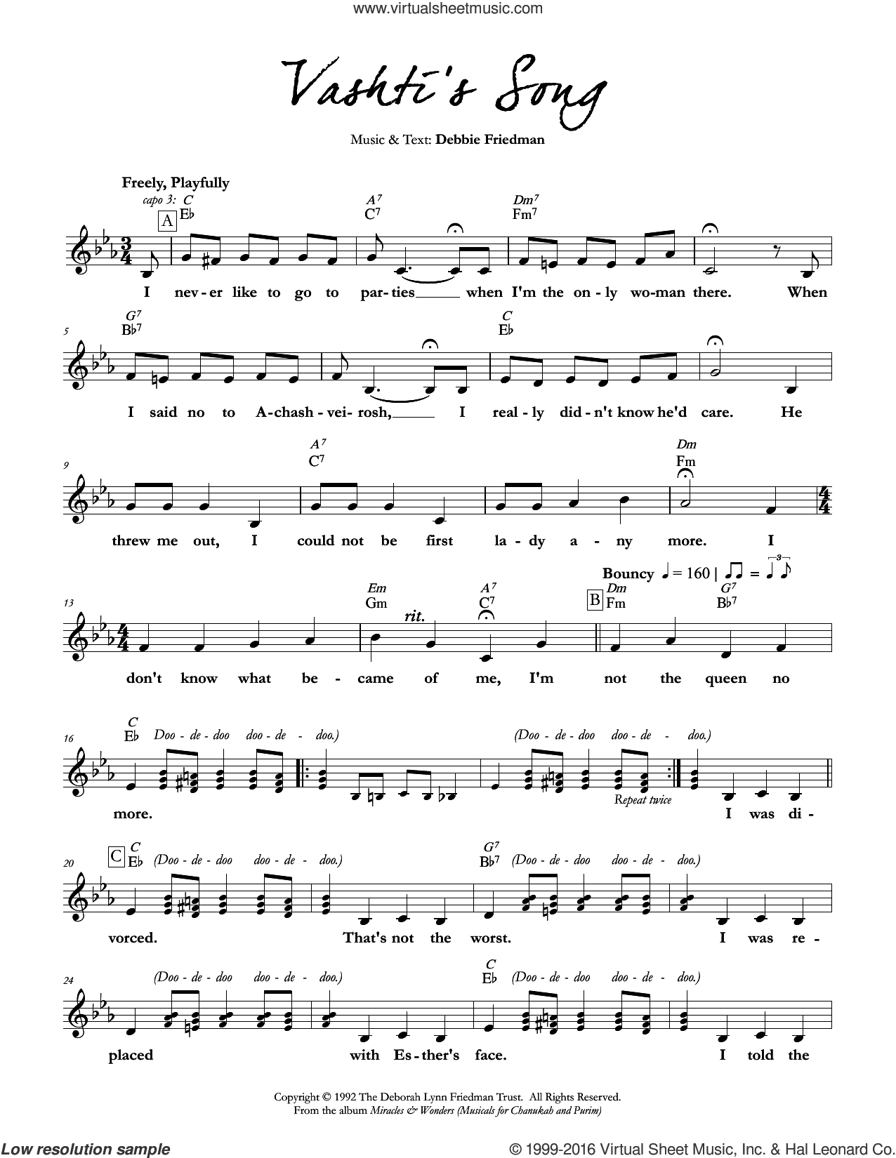 Vashti's Song sheet music for voice and other instruments (fake book) by Debbie Friedman. Score Image Preview.
