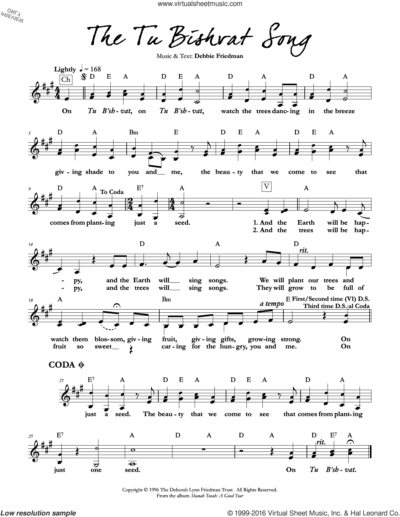 The Tu Bishvat Song sheet music for voice and other instruments (fake book) by Debbie Friedman. Score Image Preview.