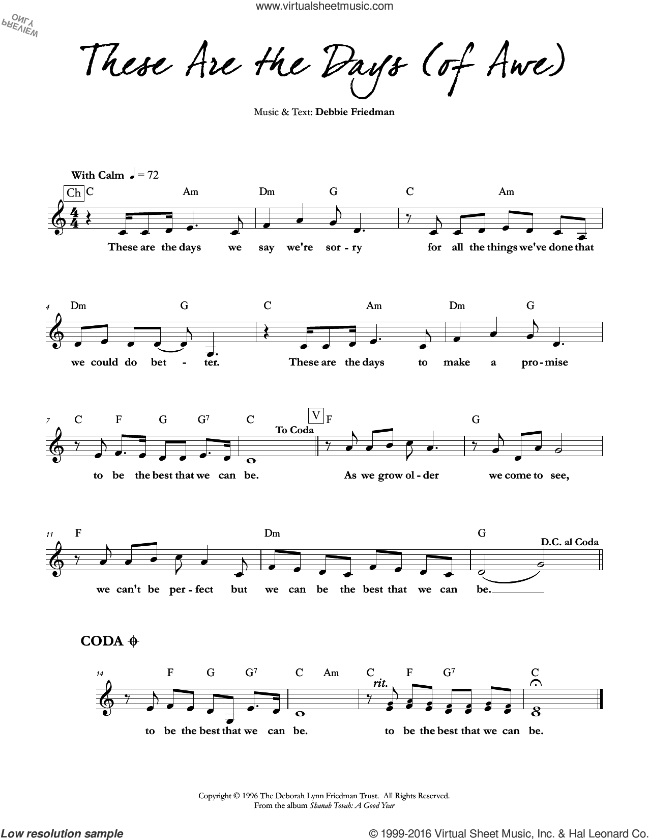 These are the Days (of Awe) sheet music for voice and other instruments (fake book) by Debbie Friedman, intermediate. Score Image Preview.