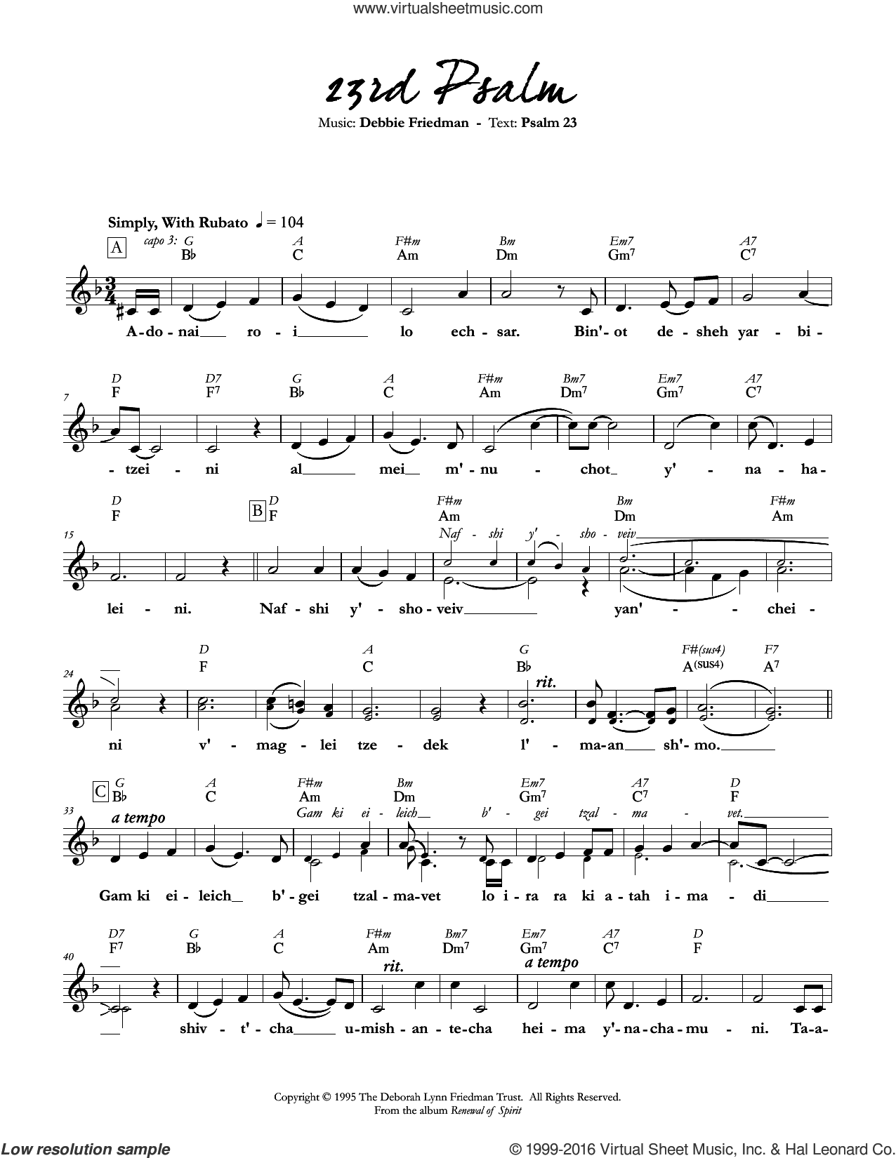 23rd Psalm sheet music for voice and other instruments (fake book) by Debbie Friedman, intermediate. Score Image Preview.