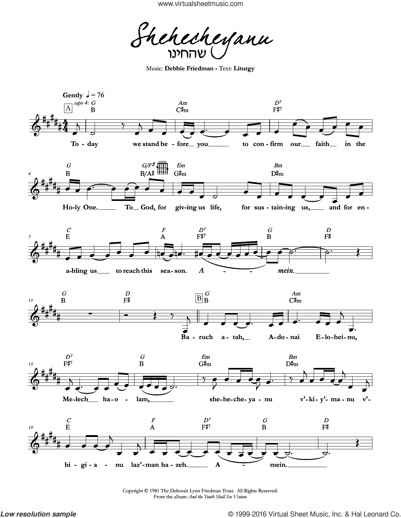 Shehecheyanu sheet music for voice and other instruments (fake book) by Debbie Friedman. Score Image Preview.
