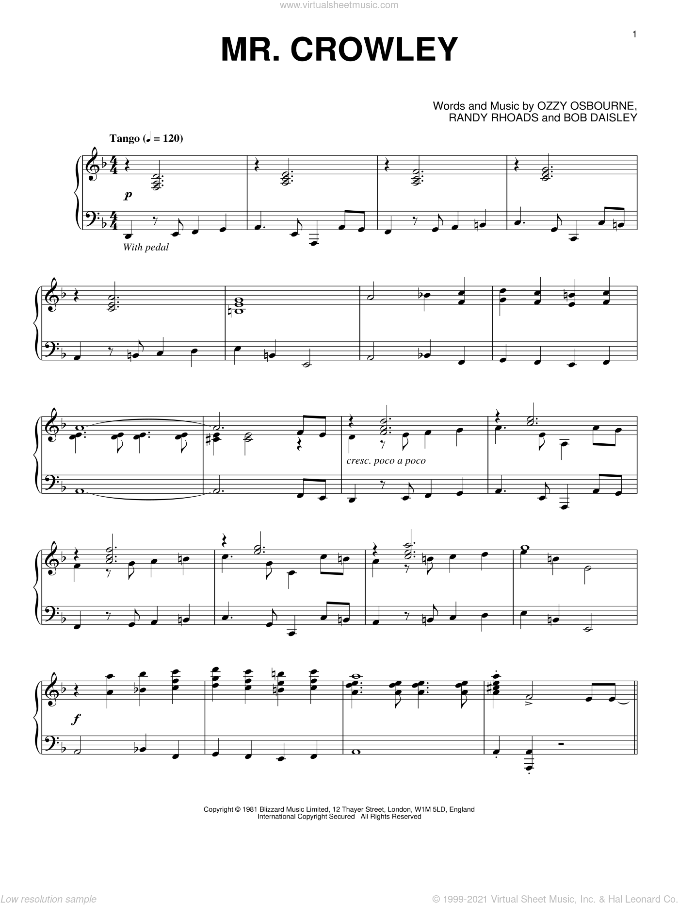 Mr. Crowley sheet music for piano solo by Ozzy Osbourne, Bob Daisley and Randy Rhoads, intermediate skill level