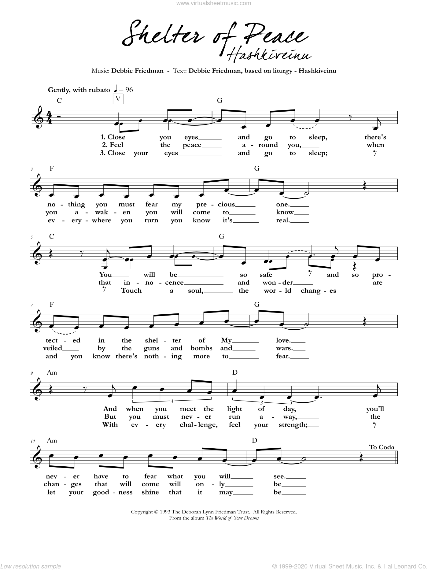 Shelter of Peace sheet music for voice and other instruments (fake book) by Debbie Friedman. Score Image Preview.