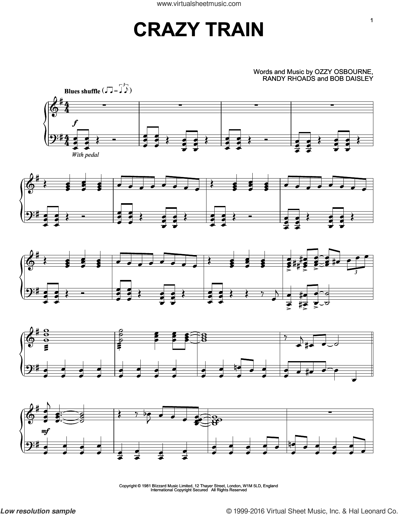 Crazy Train [Jazz version] sheet music for piano solo by Ozzy Osbourne, Bob Daisley and Randy Rhoads, intermediate skill level