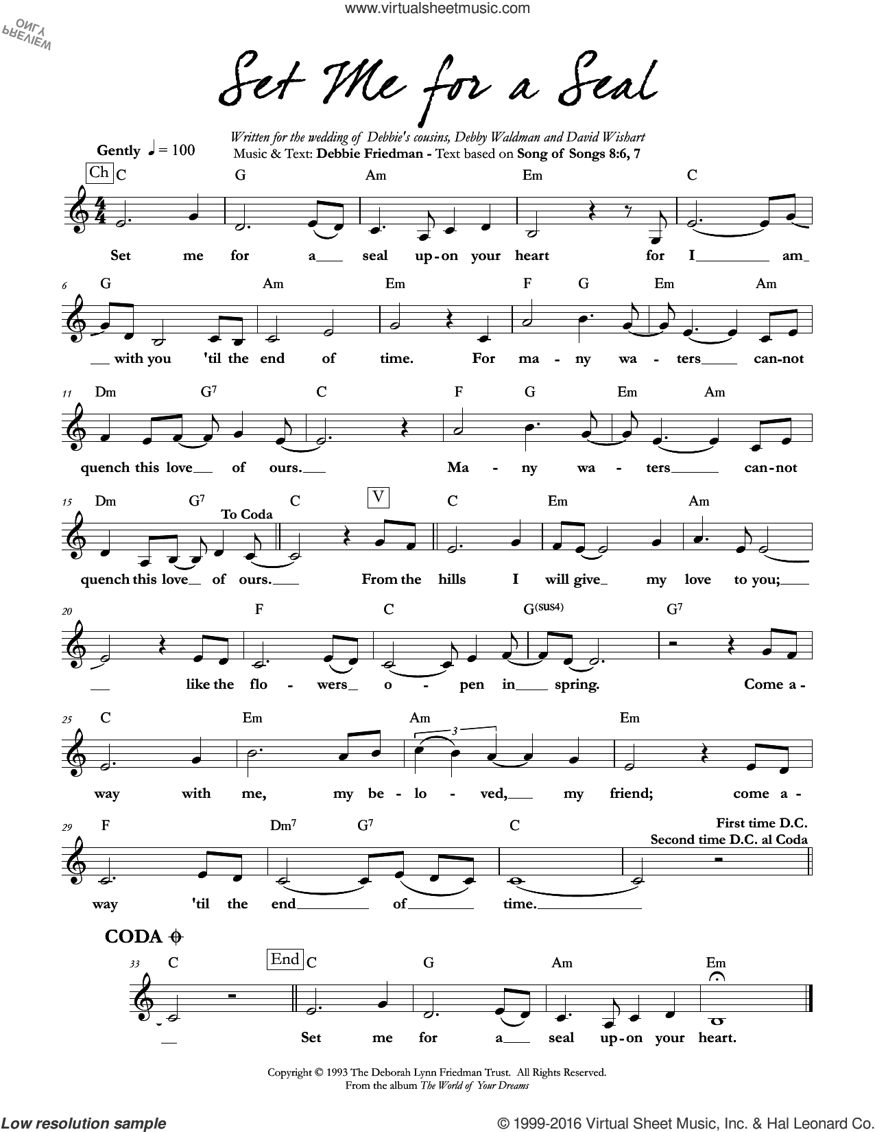 Set Me for a Seal sheet music for voice and other instruments (fake book) by Debbie Friedman, intermediate voice. Score Image Preview.