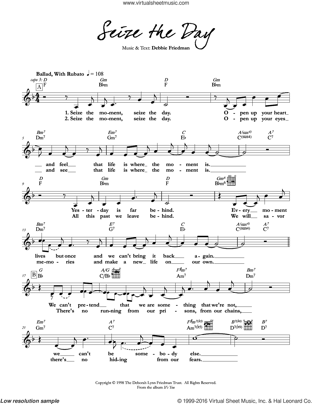 Seize the Day sheet music for voice and other instruments (fake book) by Debbie Friedman, intermediate