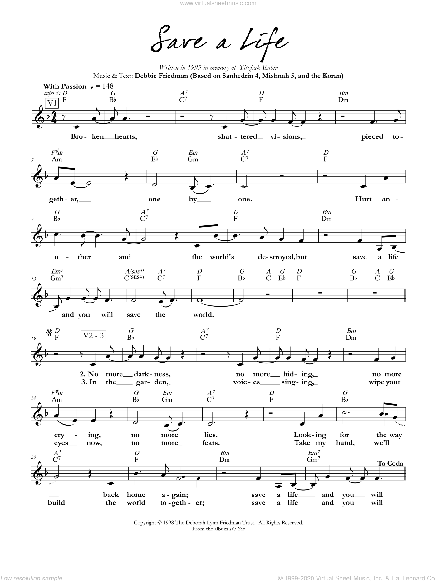 Save a Life sheet music for voice and other instruments (fake book) by Debbie Friedman. Score Image Preview.