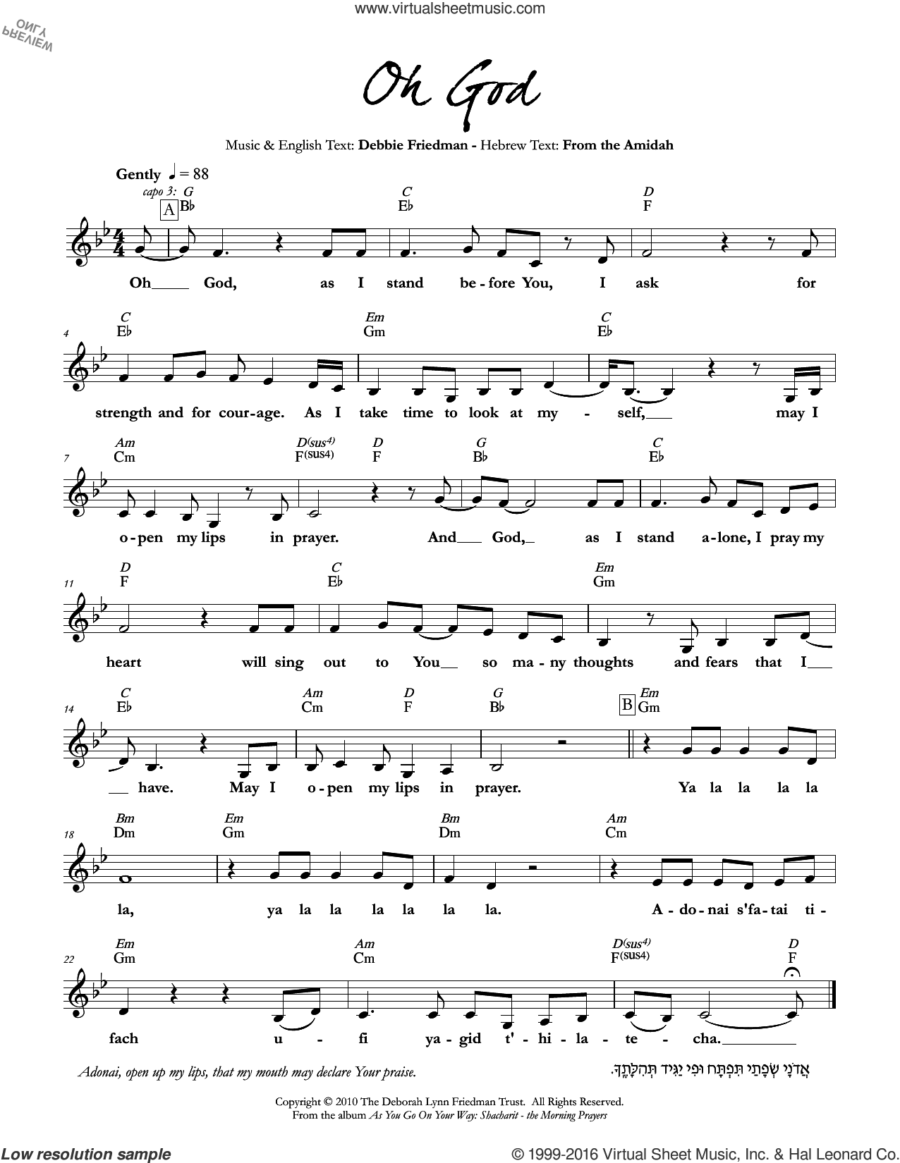 Oh God sheet music for voice and other instruments (fake book) by Debbie Friedman. Score Image Preview.