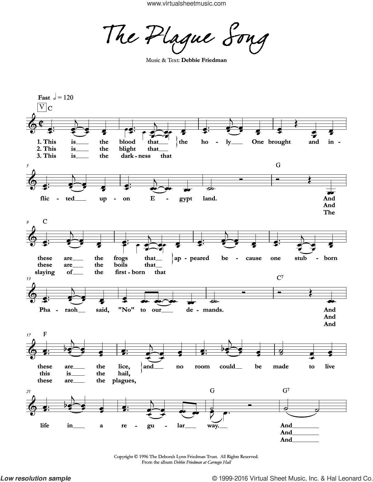 The Plague Song sheet music for voice and other instruments (fake book) by Debbie Friedman, intermediate