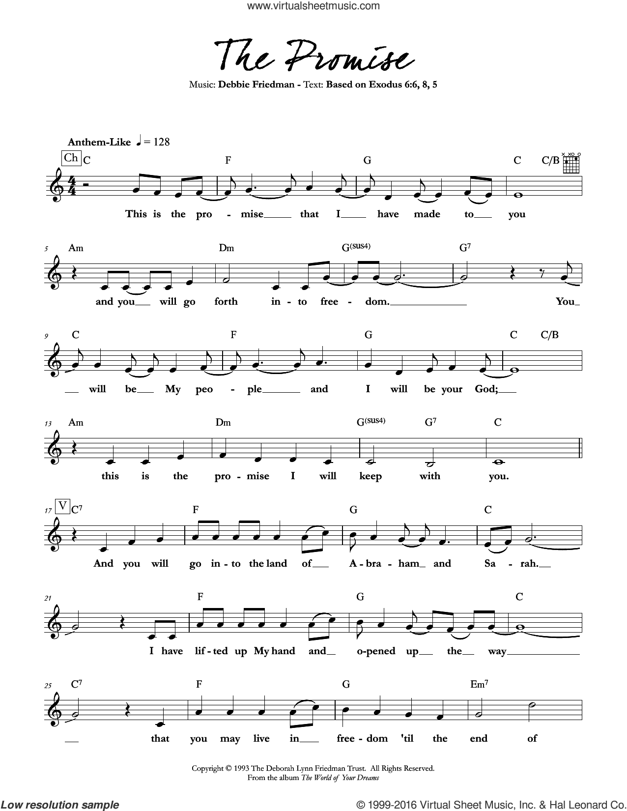 The Promise sheet music for voice and other instruments (fake book) by Debbie Friedman. Score Image Preview.