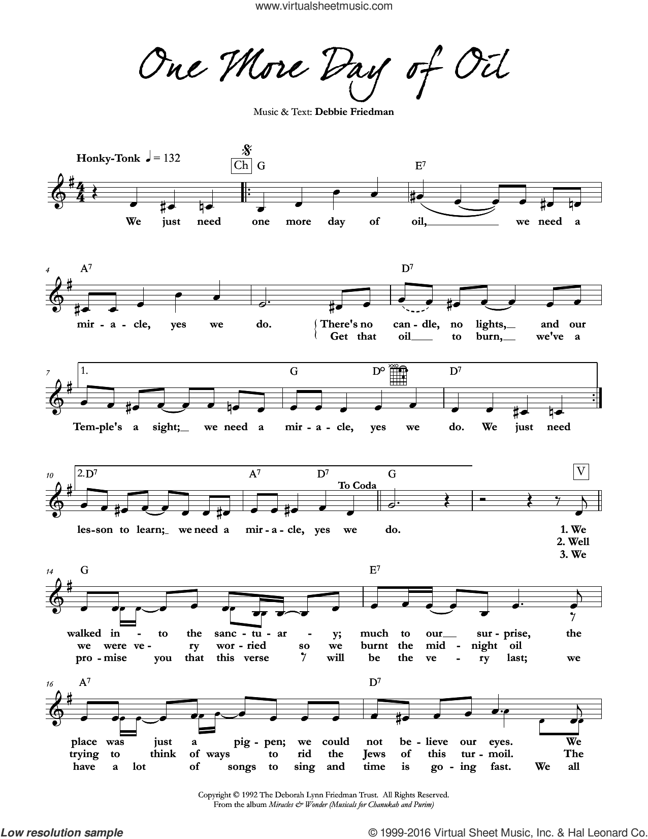 One More Day of Oil sheet music for voice and other instruments (fake book) by Debbie Friedman, intermediate voice. Score Image Preview.