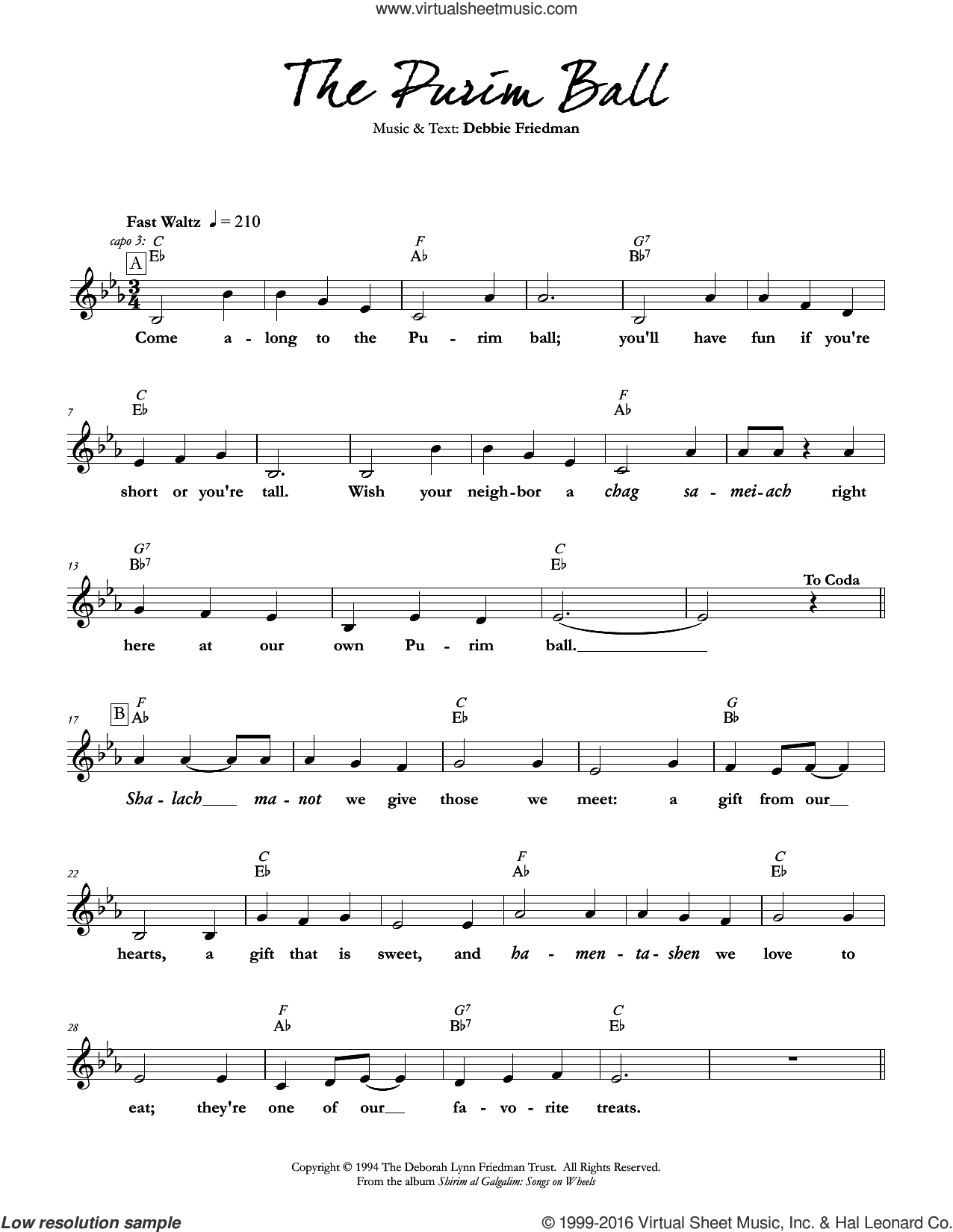 The Purim Ball sheet music for voice and other instruments (fake book) by Debbie Friedman, intermediate skill level