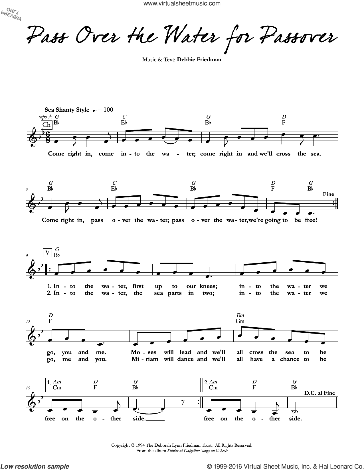 Pass Over the Water for Passover sheet music for voice and other instruments (fake book) by Debbie Friedman, intermediate skill level