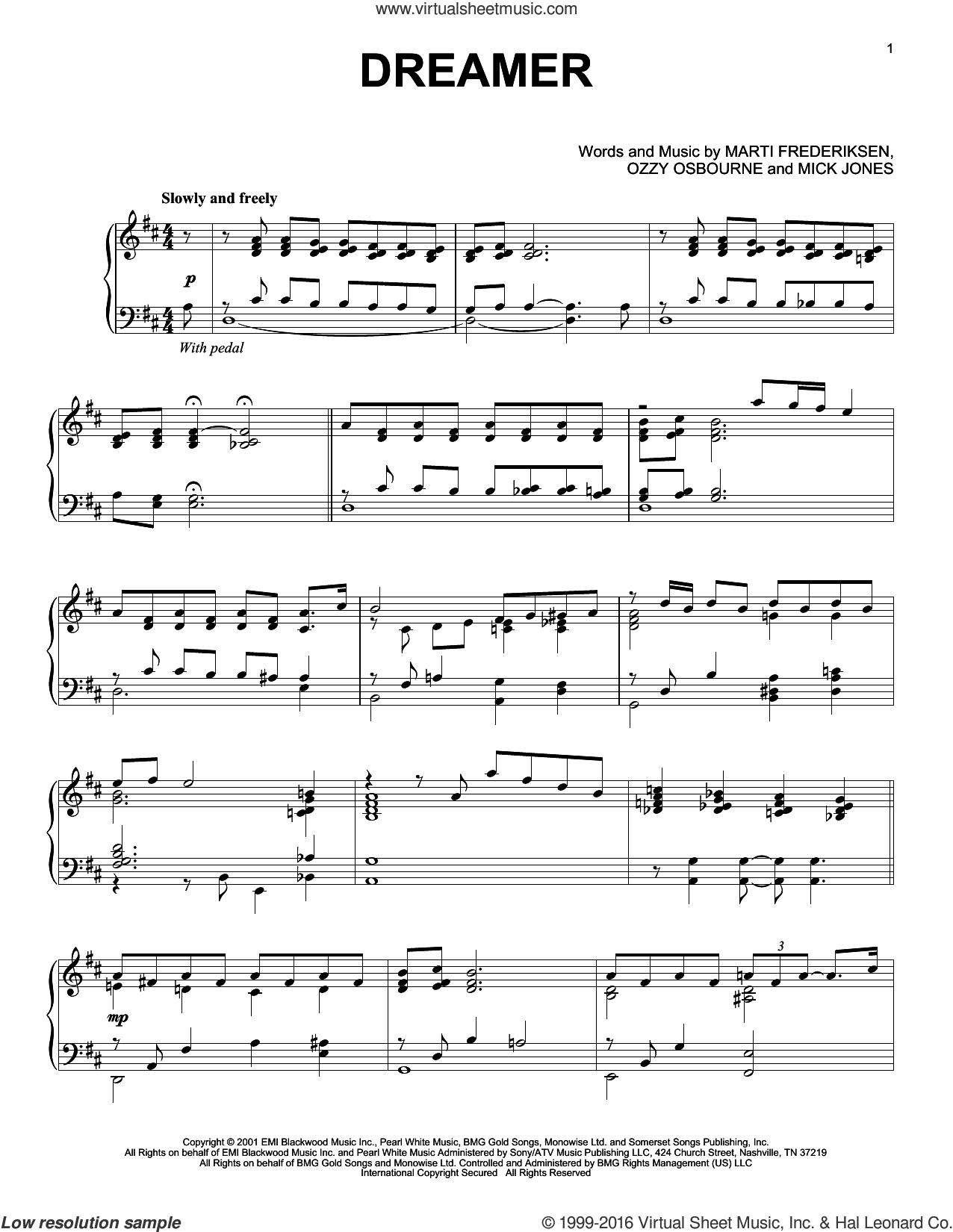 Dreamer sheet music for piano solo by Mick Jones, Marti Frederiksen and Ozzy Osbourne. Score Image Preview.