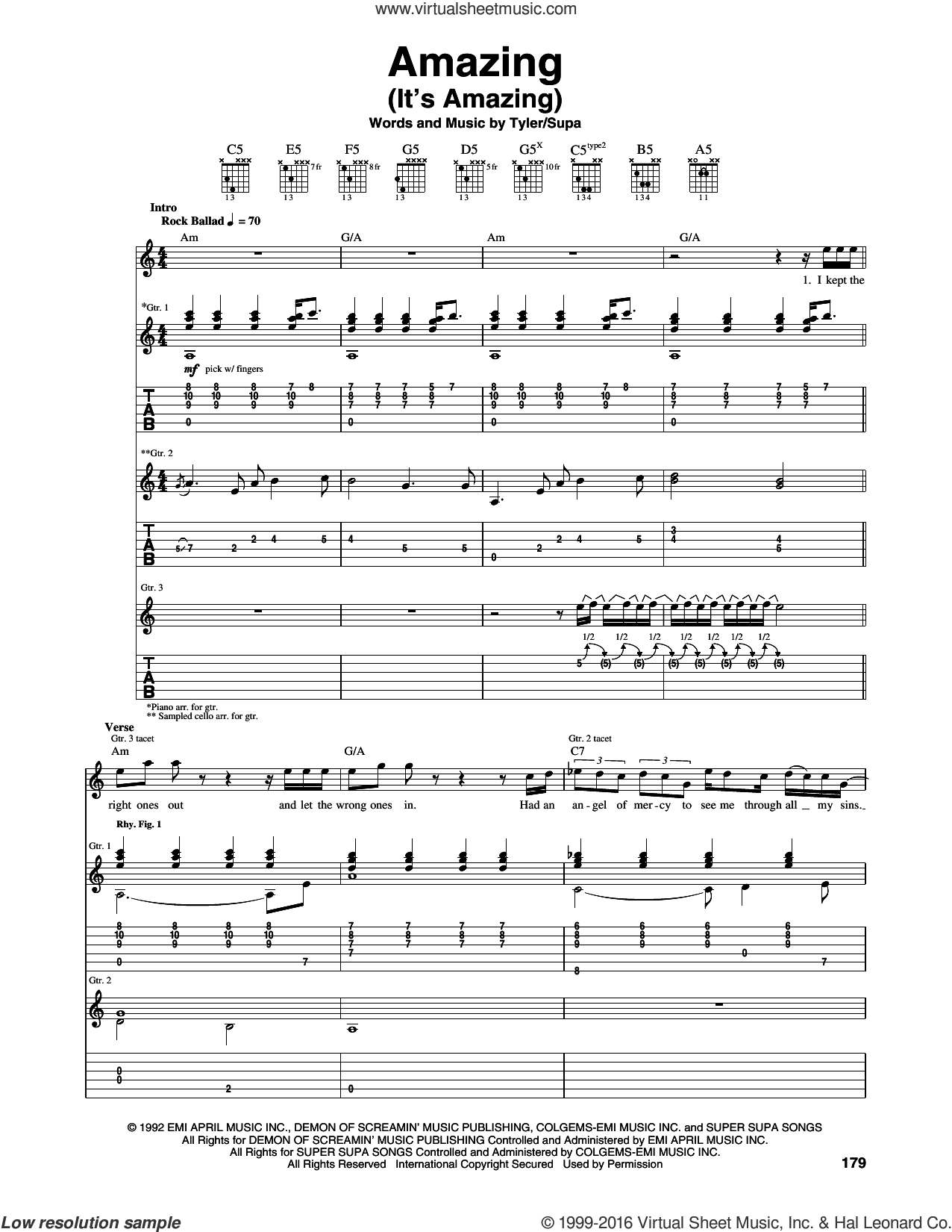 Amazing (It's Amazing) sheet music for guitar (tablature) by Steven Tyler, Aerosmith and Richie Supa. Score Image Preview.