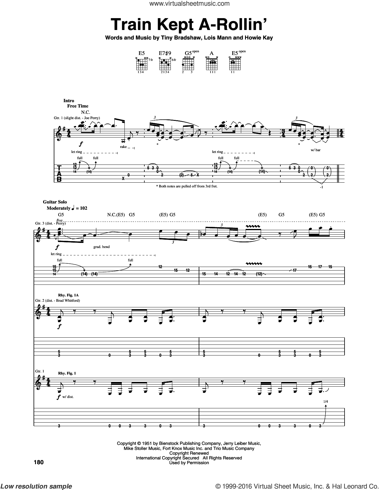 Train Kept A-Rollin' sheet music for guitar (tablature) by Aerosmith and Yardbirds. Score Image Preview.