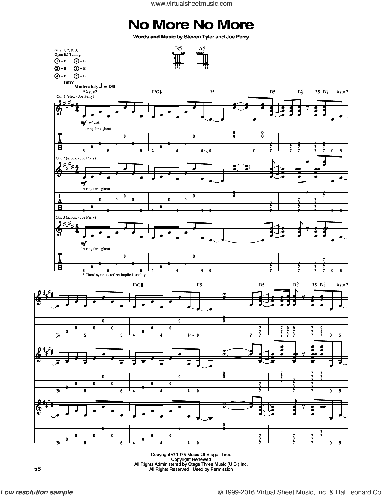 No More No More sheet music for guitar (tablature) by Aerosmith, Joe Perry and Steven Tyler, intermediate skill level