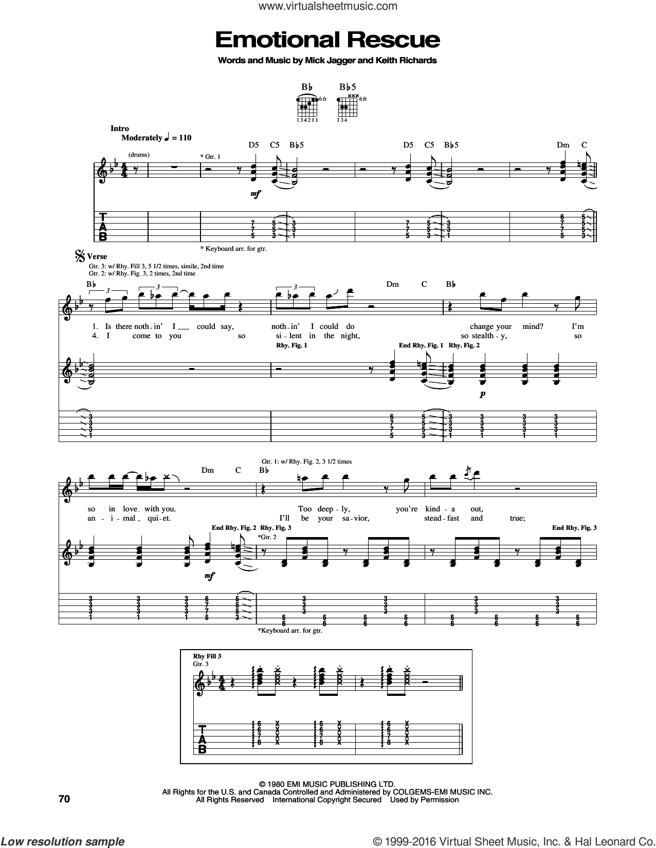 Emotional Rescue sheet music for guitar (tablature) by The Rolling Stones, intermediate. Score Image Preview.