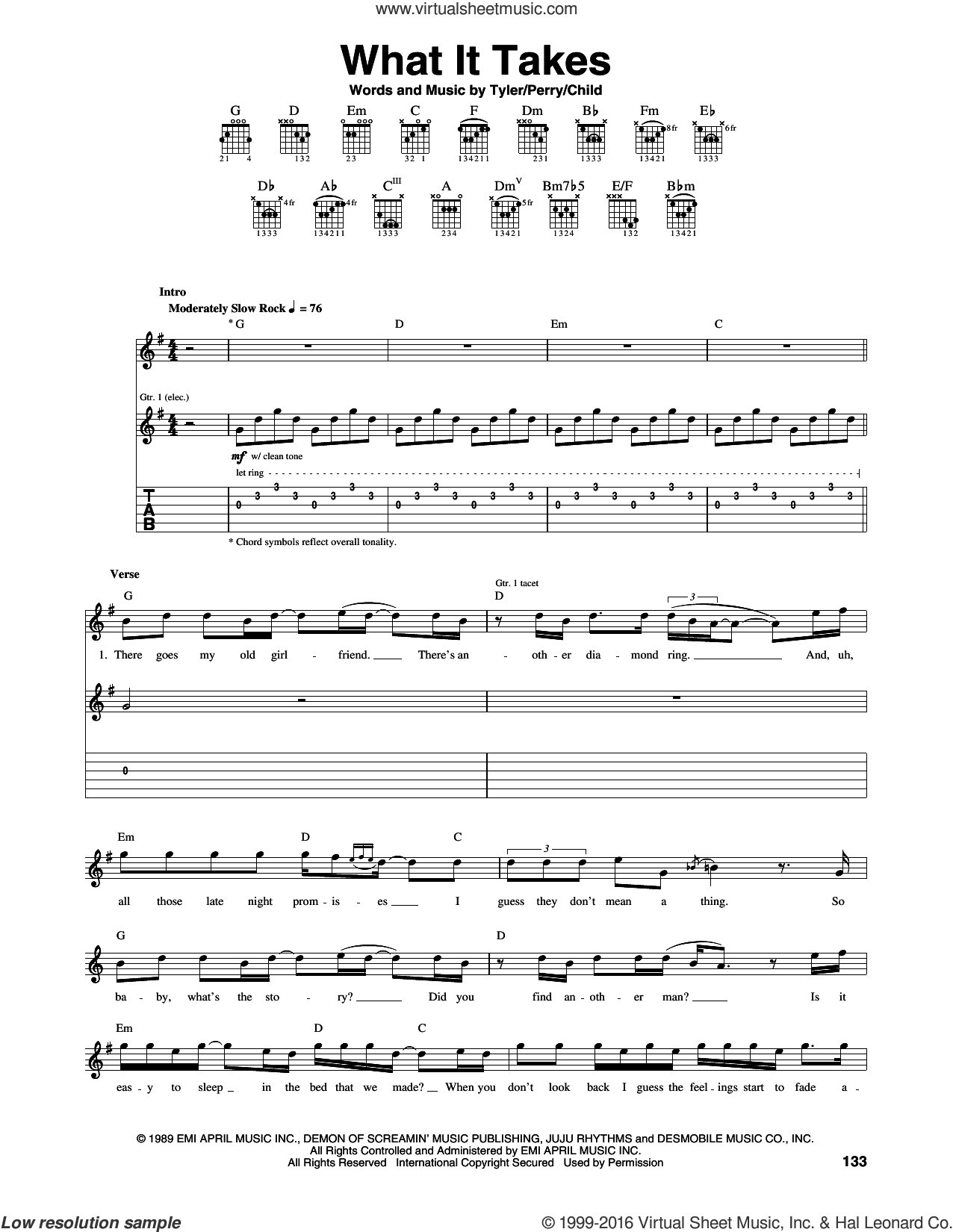 What It Takes sheet music for guitar (tablature) by Steven Tyler, Aerosmith, Desmond Child and Joe Perry. Score Image Preview.