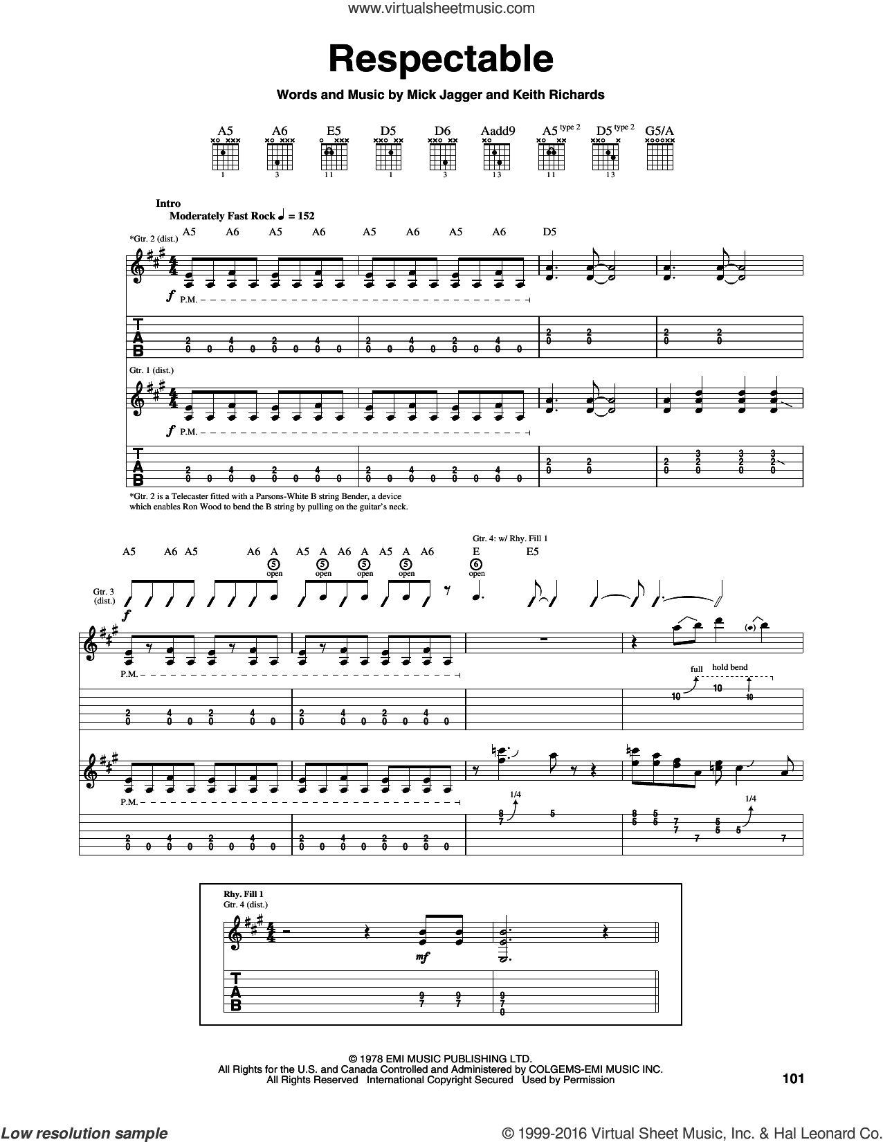 Respectable sheet music for guitar (tablature) by Mick Jagger, The Rolling Stones and Keith Richards. Score Image Preview.