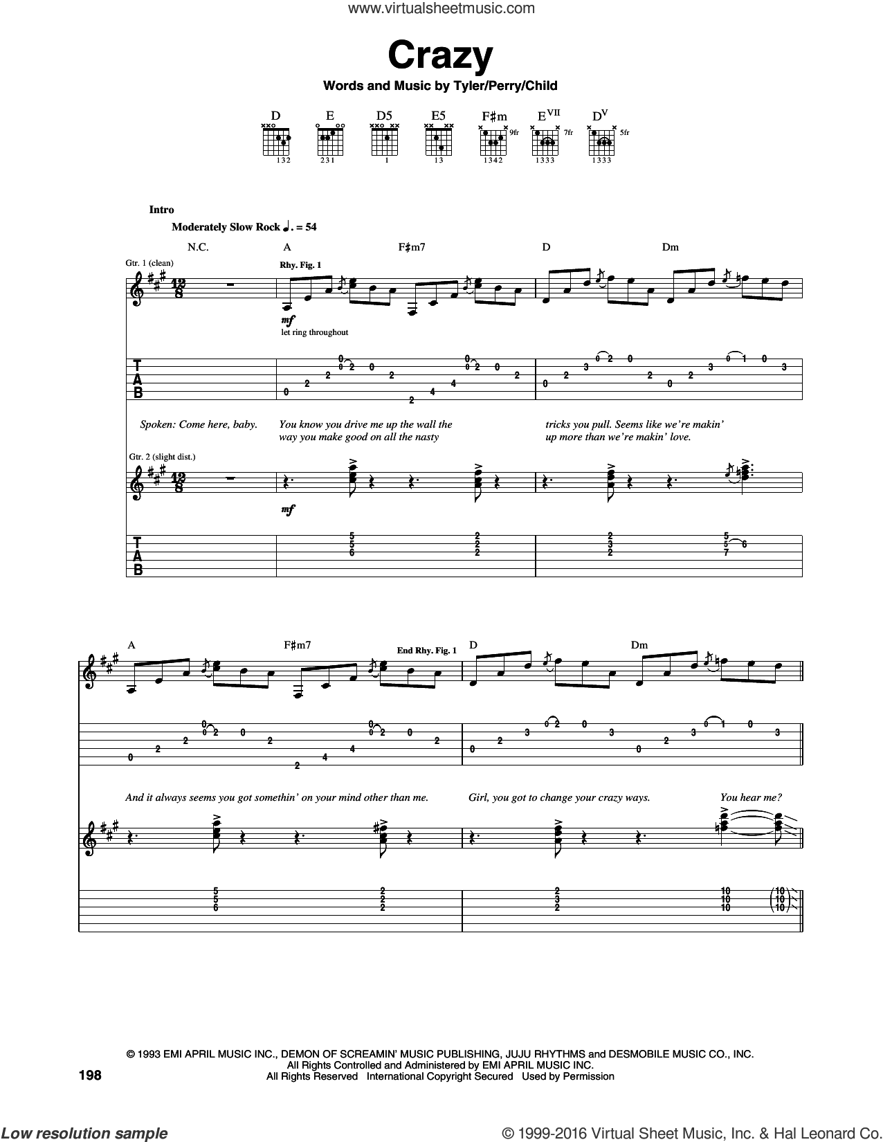 Crazy sheet music for guitar (tablature) by Steven Tyler, Aerosmith, Desmond Child and Joe Perry. Score Image Preview.
