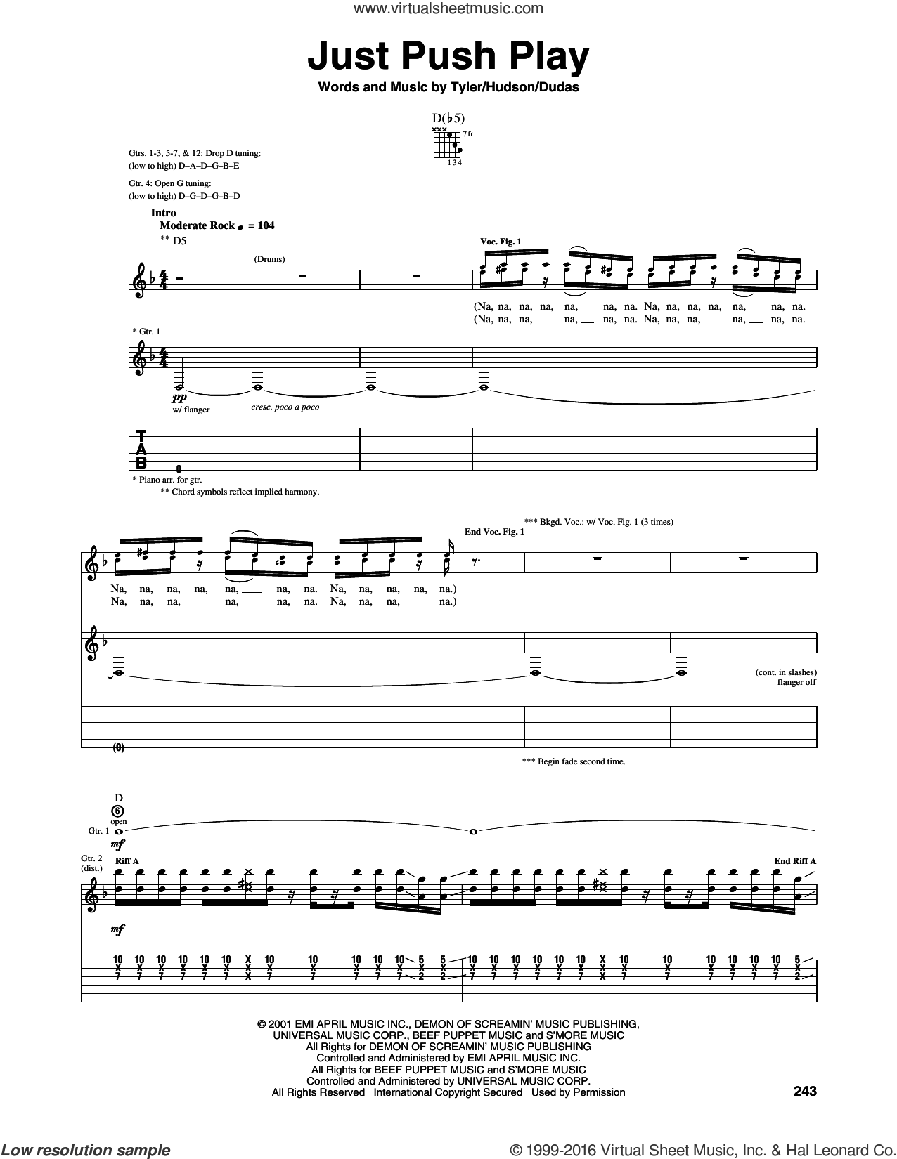 Just Push Play sheet music for guitar (tablature) by Aerosmith, Mark Hudson, Steve Dudas and Steven Tyler, intermediate skill level