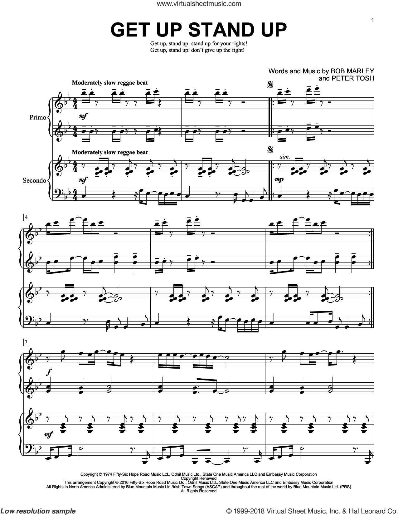 Get Up Stand Up sheet music for piano four hands by Bob Marley, Brent Edstrom and Peter Tosh, intermediate skill level