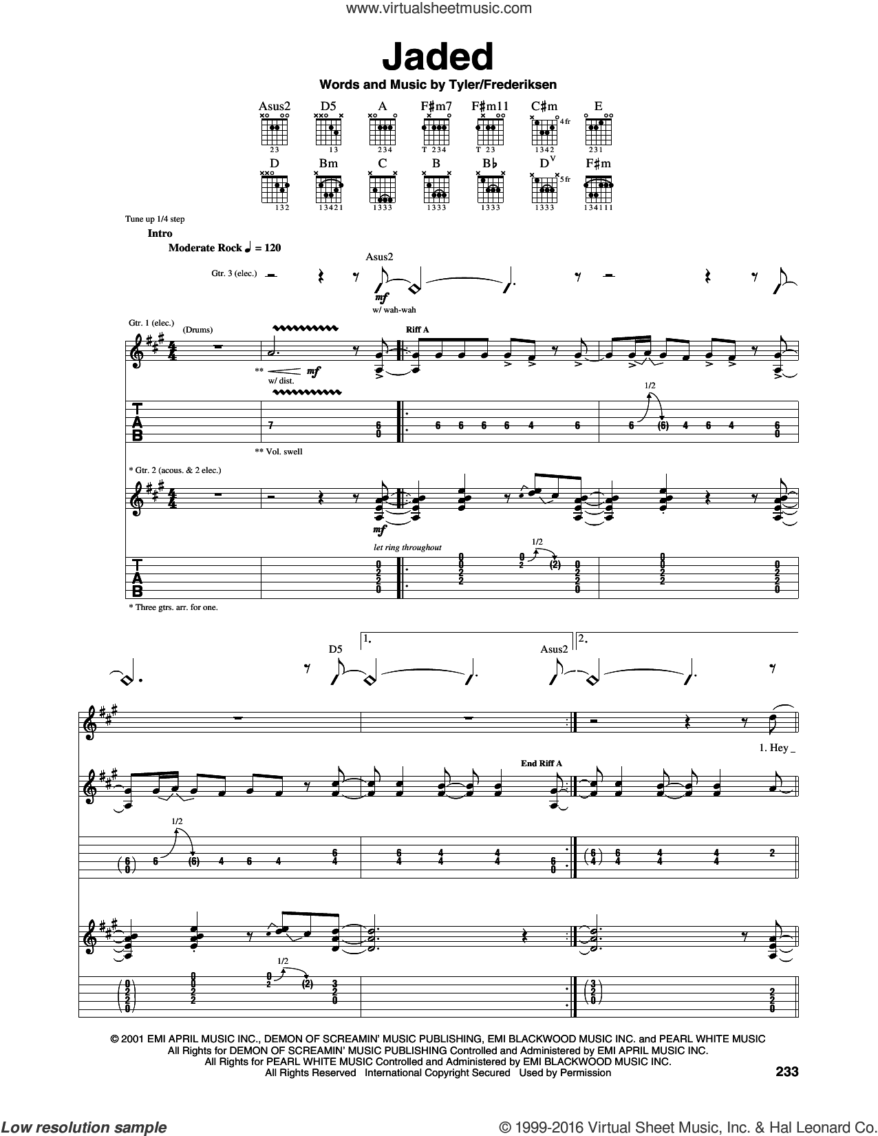 Jaded sheet music for guitar (tablature) by Aerosmith and Marti Frederiksen, intermediate. Score Image Preview.