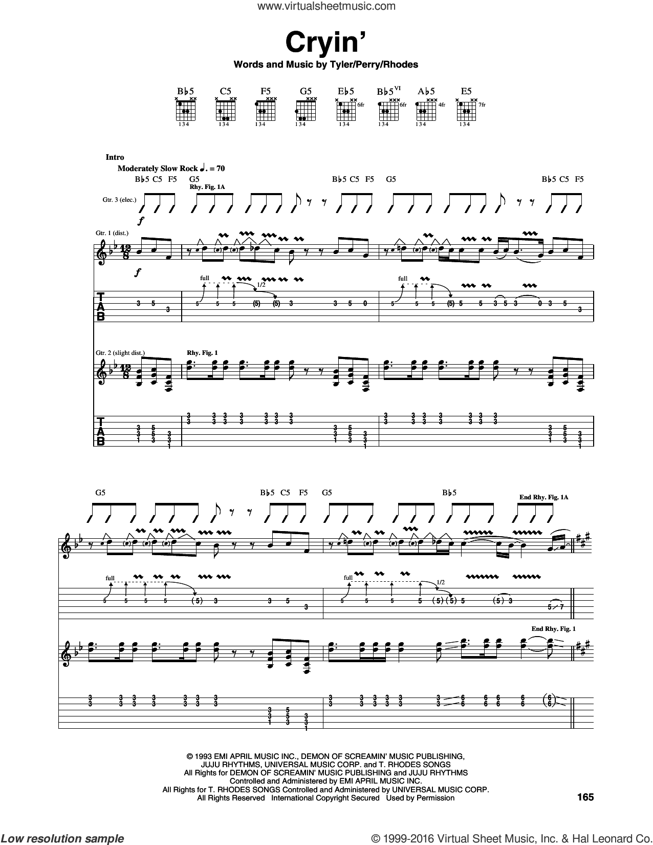 Cryin' sheet music for guitar (tablature) by Aerosmith, intermediate guitar (tablature). Score Image Preview.
