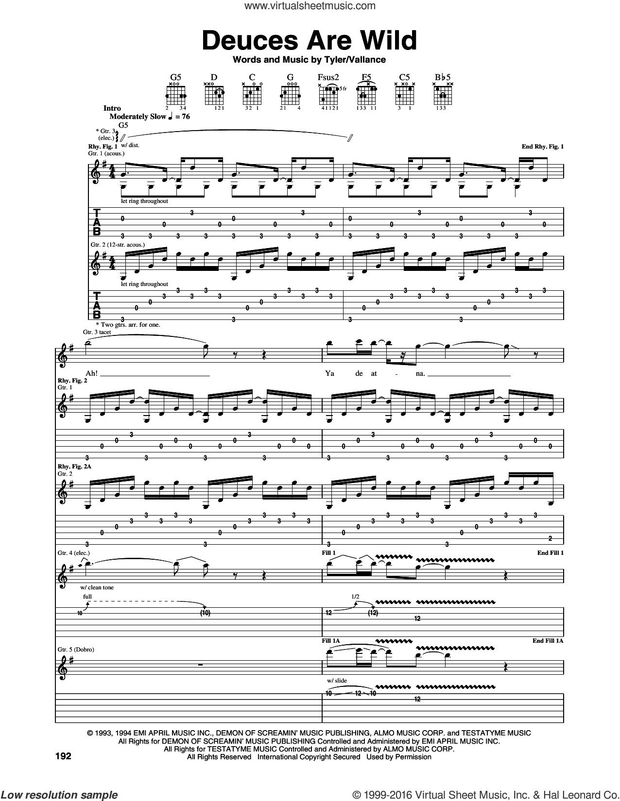 Deuces Are Wild sheet music for guitar (tablature) by Steven Tyler, Aerosmith and Jim Vallance. Score Image Preview.