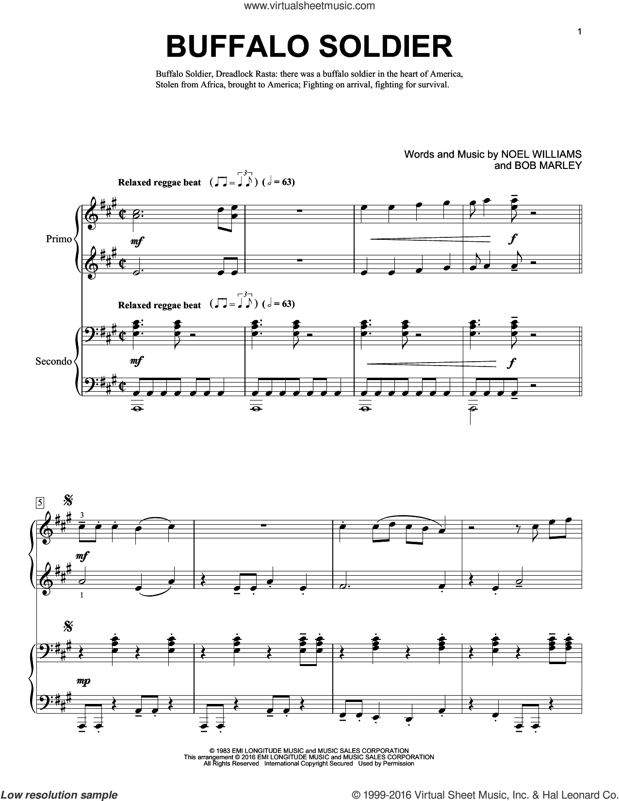 Buffalo Soldier sheet music for piano four hands by Bob Marley, Brent Edstrom and Noel Williams, intermediate skill level