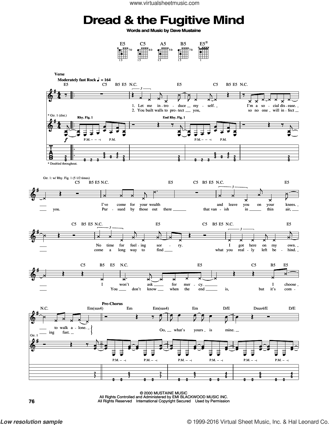 Dread and The Fugitive Mind sheet music for guitar (tablature) by Megadeth and Dave Mustaine, intermediate skill level