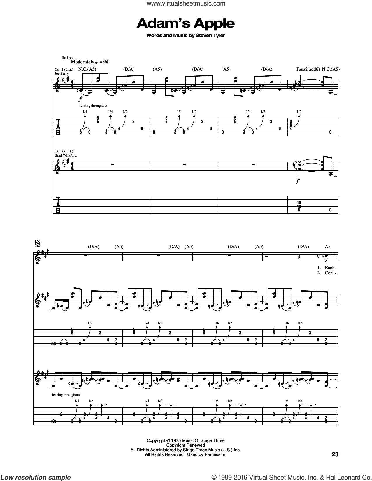 Adam's Apple sheet music for guitar (tablature) by Aerosmith. Score Image Preview.