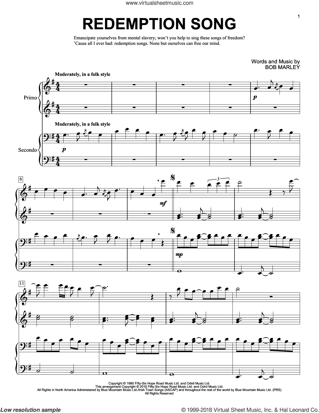 Redemption Song sheet music for piano four hands by Bob Marley, Brent Edstrom and Rihanna, intermediate skill level