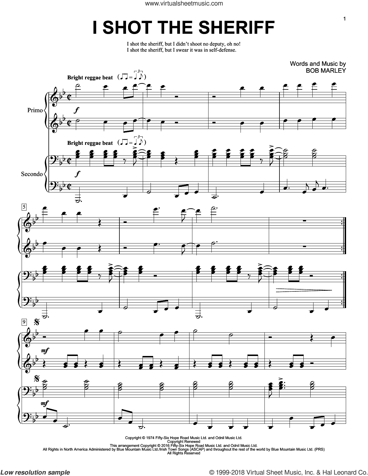 I Shot The Sheriff sheet music for piano four hands by Bob Marley, Brent Edstrom, Eric Clapton and Warren G, intermediate skill level
