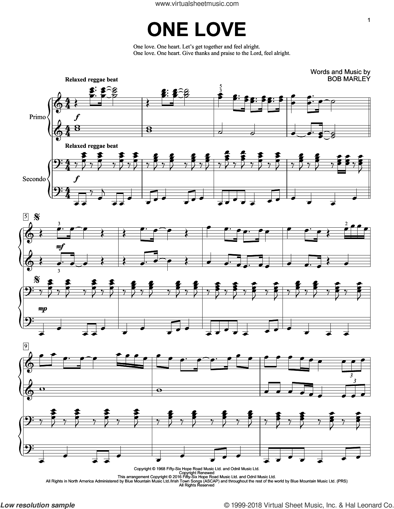 One Love sheet music for piano four hands by Bob Marley and Brent Edstrom, intermediate skill level