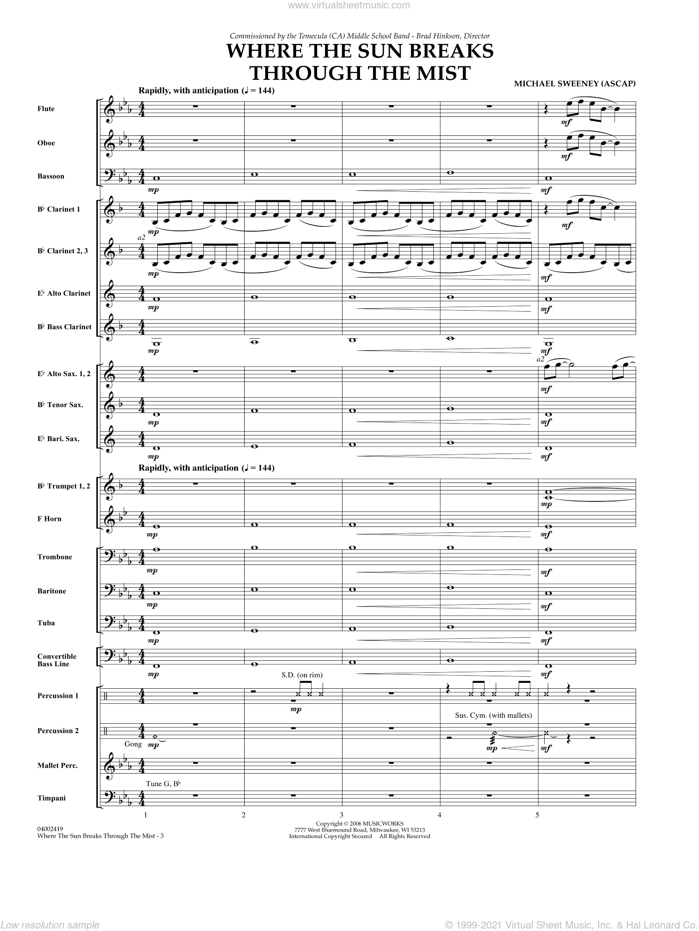 Where the Sun Breaks Through the Mist sheet music for concert band (full score) by Michael Sweeney. Score Image Preview.