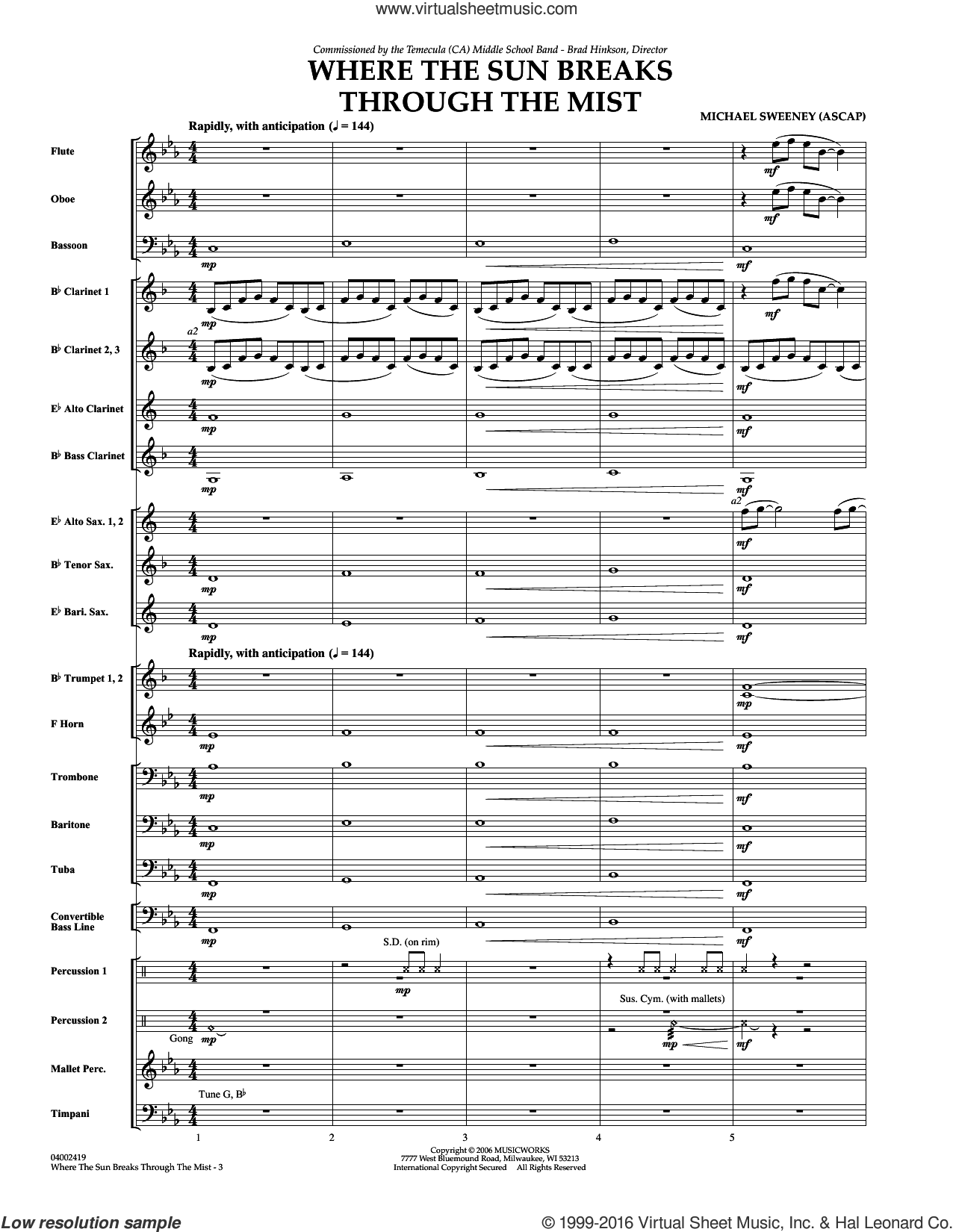 Where the Sun Breaks Through the Mist (COMPLETE) sheet music for concert band by Michael Sweeney, intermediate. Score Image Preview.