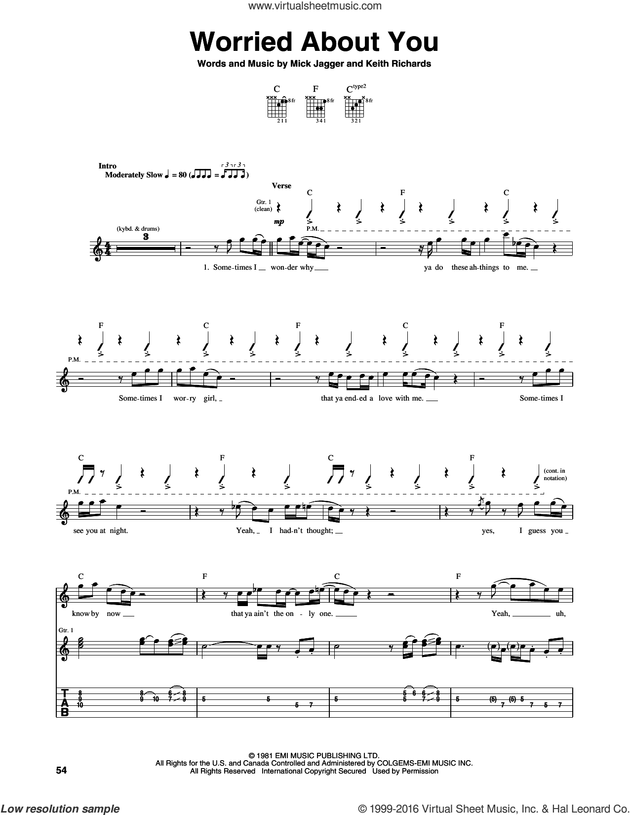 Worried About You sheet music for guitar (tablature) by Mick Jagger, The Rolling Stones and Keith Richards. Score Image Preview.