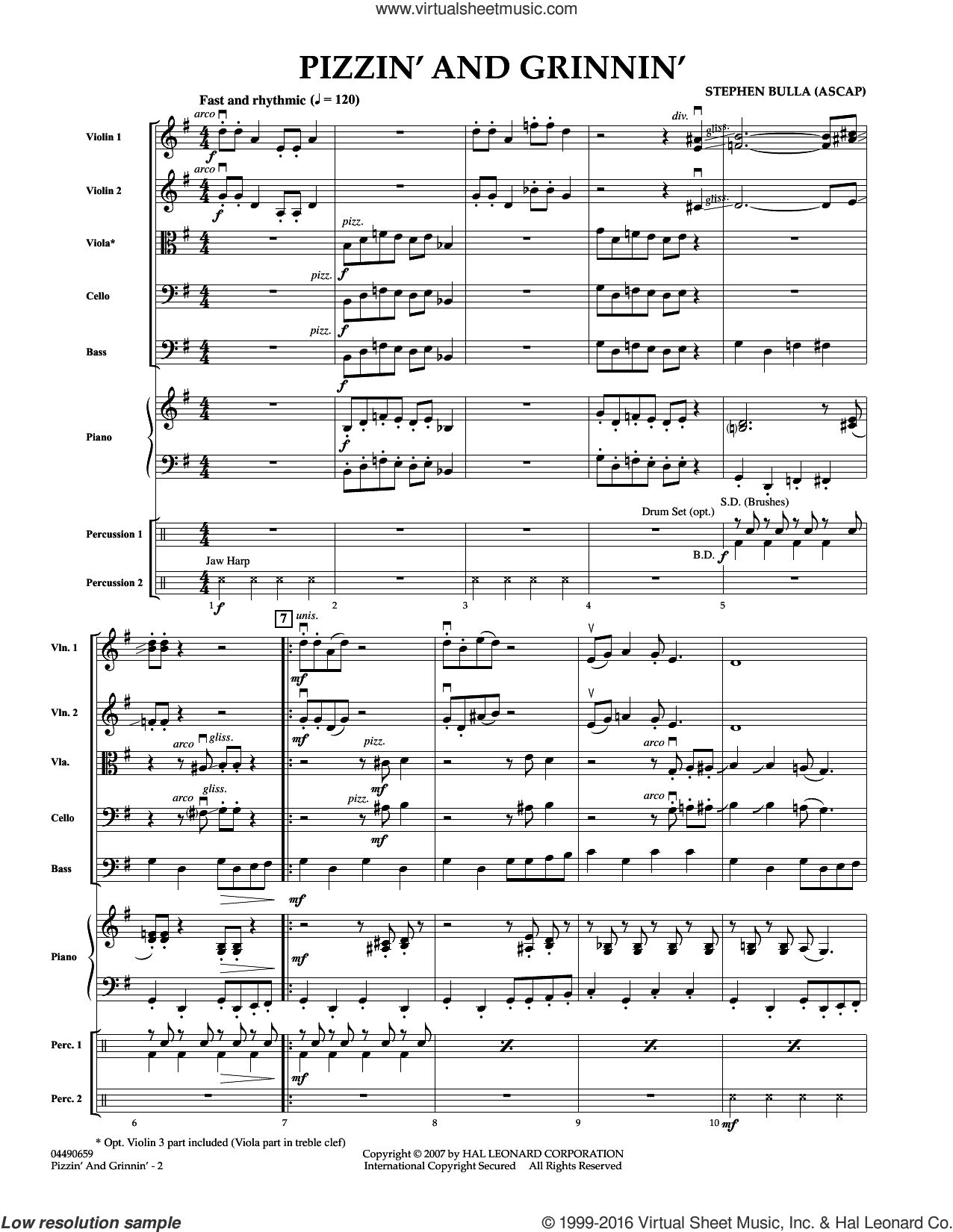 Pizzin' and Grinnin' sheet music for orchestra (full score) by Stephen Bulla, intermediate